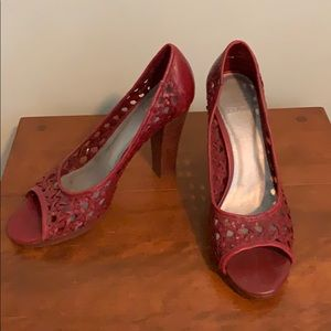 Red woven leather heels